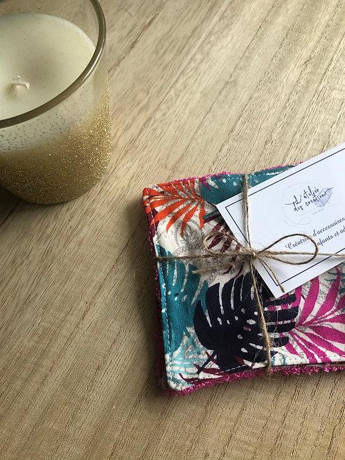 Lingettes en coton et éponge bambou motifs feuilles multicolores