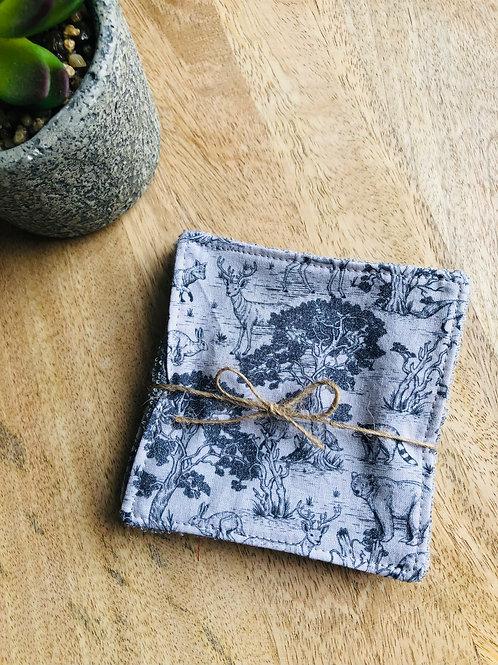 Lingettes en coton et éponge bambou motifs animaux de la forêt
