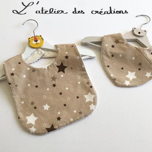 Duo bavoir / bandana en coton et éponge motifs étoiles