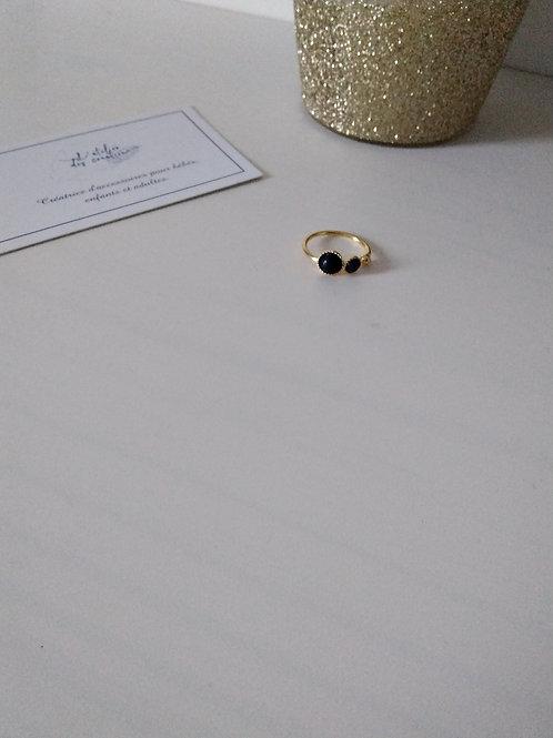 Bague doré à l'or fin double cabochon en lapis-lazuli