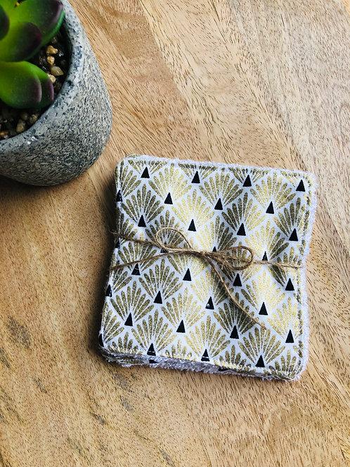 Lingettes en coton et éponge bambou motifs écailles