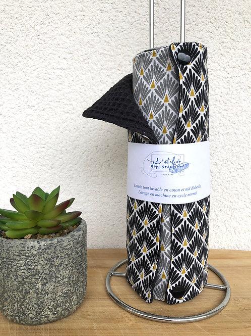 Essuie tout lavable et réutilisable motifs écailles noir et gris