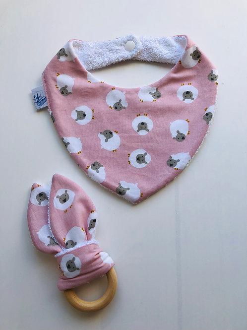 Coffret bandana et anneau de dentition motifs moutons