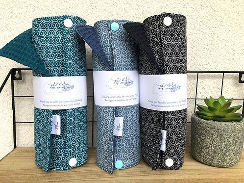 Essuie tout lavable et réutilisable motifs géométriques