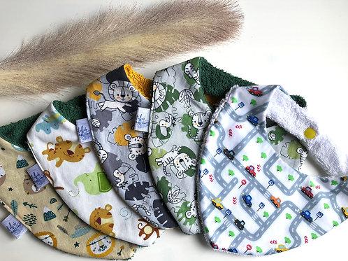 Bavoir/bandana en coton et éponge motifs