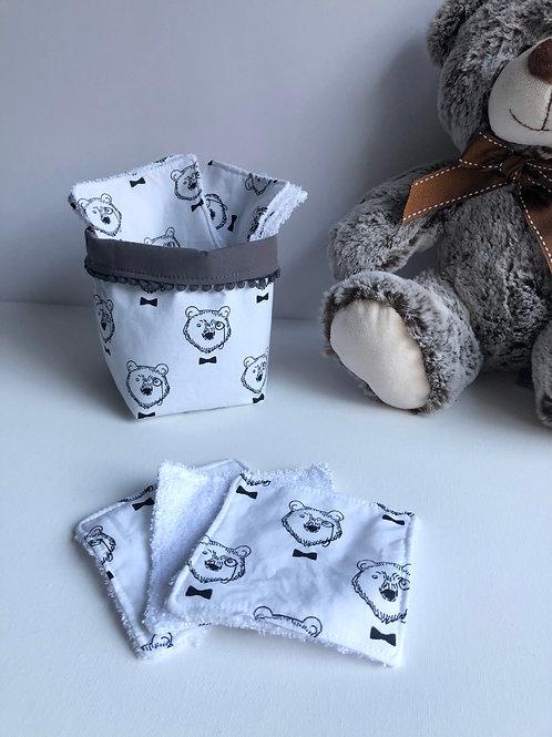 Panière et lingettes en coton et éponge bambou motifs ours
