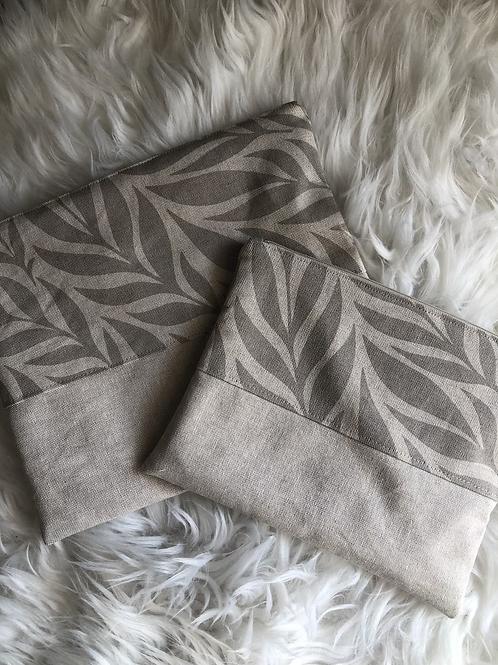 Trousse pochette en toile de coton aspect lin motifs beige et lin