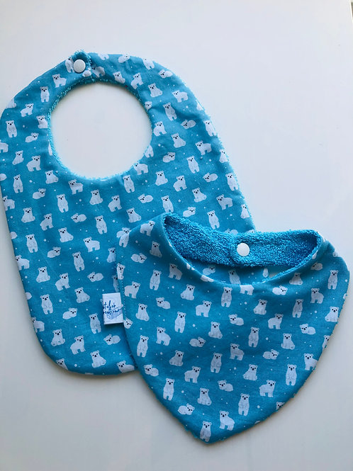 Duo bavoir / bandana en coton et éponge motifs ours blanc