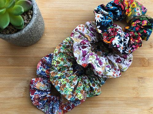 Chouchou en popeline de coton motifs fleuris