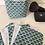 Thumbnail: Panière et lingettes en coton et éponge bambou motifs éventails bleu canard
