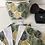 Thumbnail: Panière et lingettes en coton et éponge bambou motifs feuilles tropicales