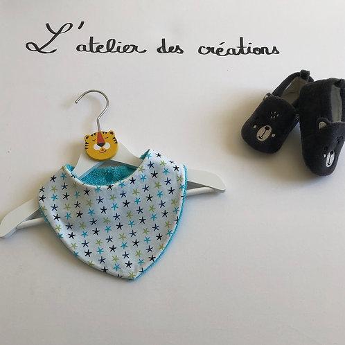 Bavoir/bandana en coton et éponge motifs étoiles de mer