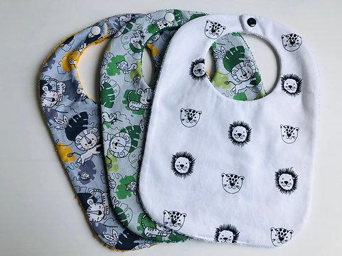 Bavoir en coton et éponge motifs jungle