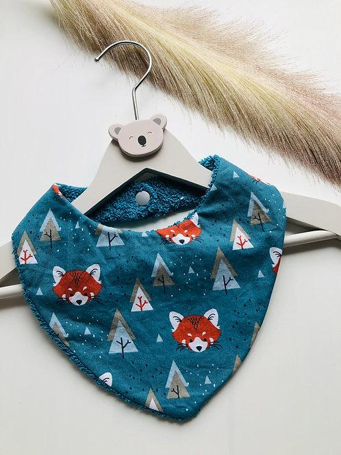 Bavoir/bandana en coton et éponge motifs pandas roux