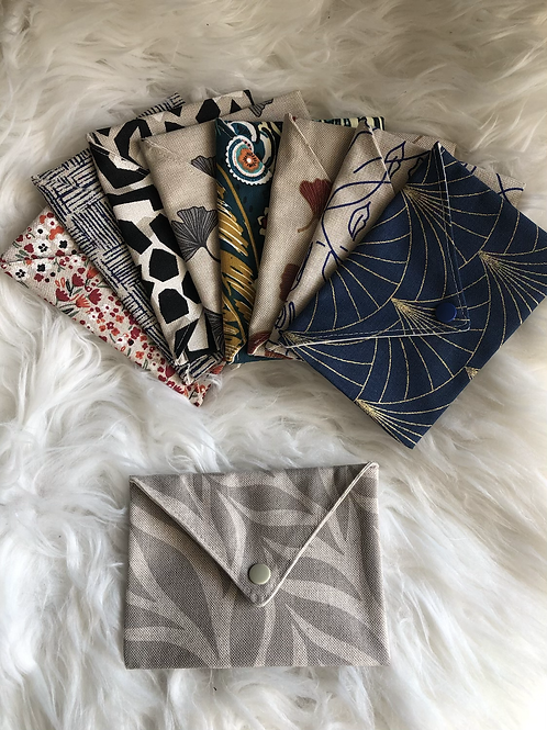 Pochette enveloppe en coton aspect lin motifs beige