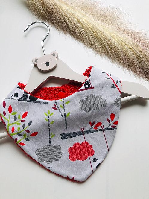 Bavoir/bandana en coton et éponge motifs panda