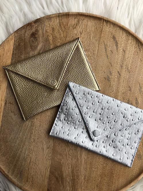 Pochette enveloppe simili cuir grainé
