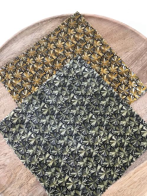 Bee wrap/ film alimentaire réutilisable motifs fleuris