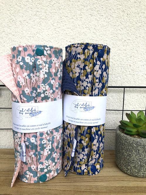 Essuie tout lavable et réutilisable motifs fleurs