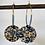 Thumbnail: Créoles dorées avec sequin en tissu et perles miyuki