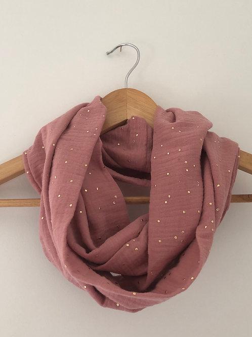 Tour de cou / snood en double gaze de coton vieux rose