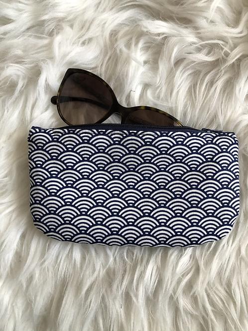 Trousse / étui à lunettes en coton motifs marine et blanc