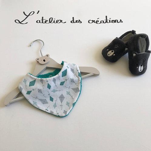 Bavoir/bandana en coton et éponge motifs cerfs volants