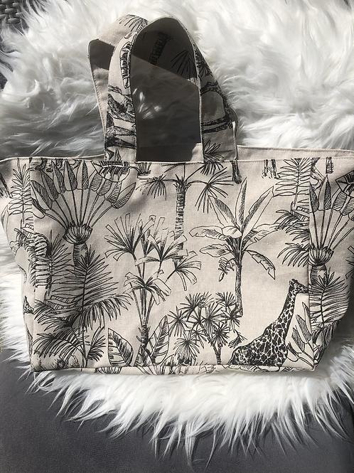 Cabas en toile de coton aspect lin motifs jungle noir sur fond lin