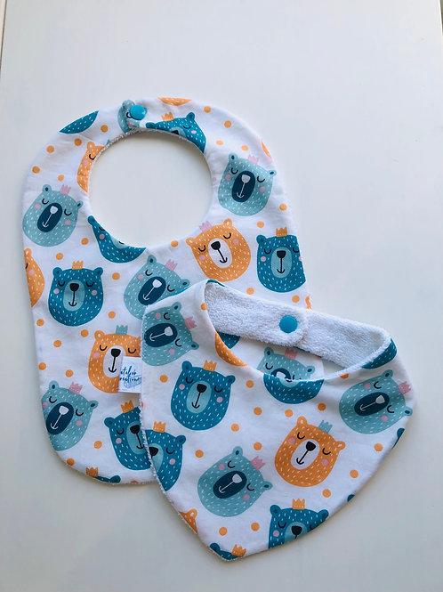 Duo bavoir / bandana en coton et éponge motifs ours
