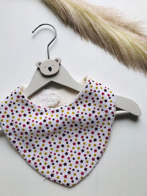 Bavoir/bandana en coton et éponge motifs étoiles marron