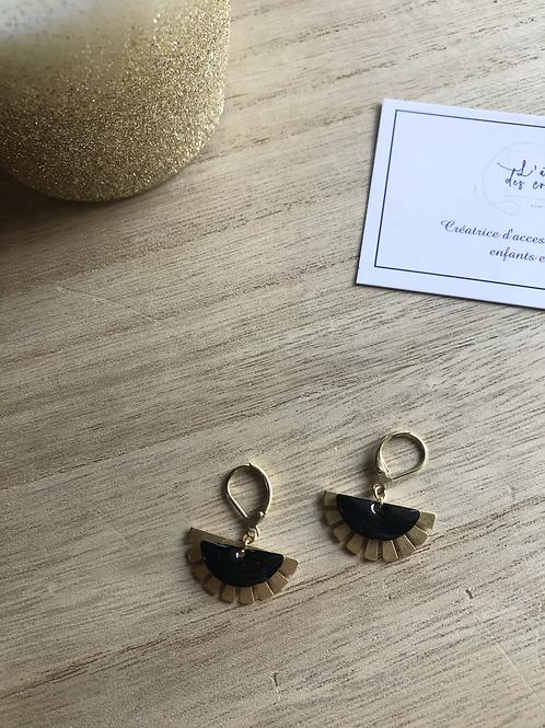 Boucles d'oreilles éventails doré mat et sequin noir