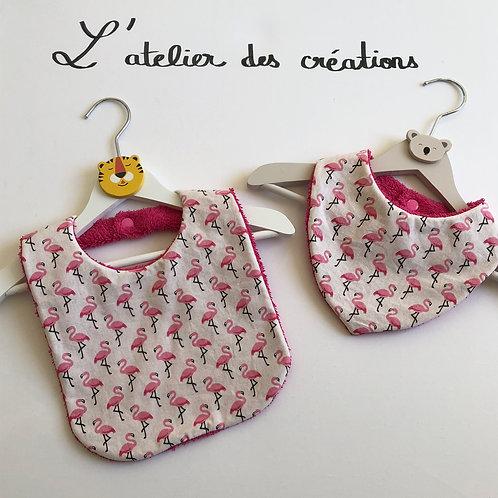 Duo de bavoir et bandana en coton et éponge / plusieurs coloris
