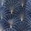 Thumbnail: Cabas en toile de coton motifs éventails dorés sur fond bleu foncé