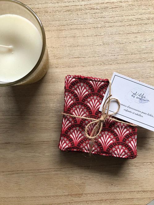 Lingettes en coton et éponge bambou motifs éventails rouge