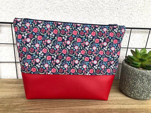Trousse pochette en coton motifs fleuris et simili cuir