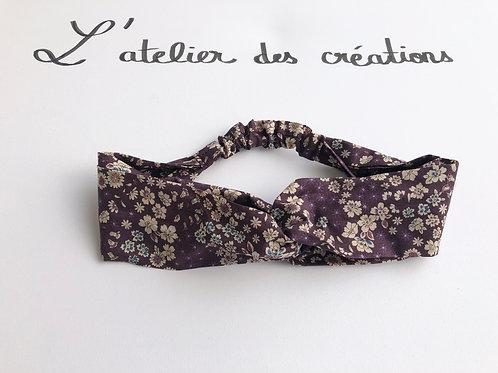 Headband / bandeau en coton fleuri violet Froufrou