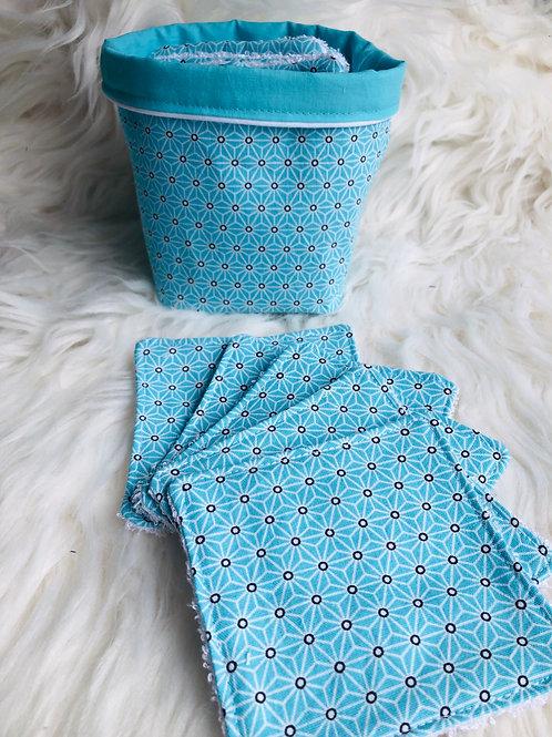 Panière et lingettes motifs géométriques turquoise