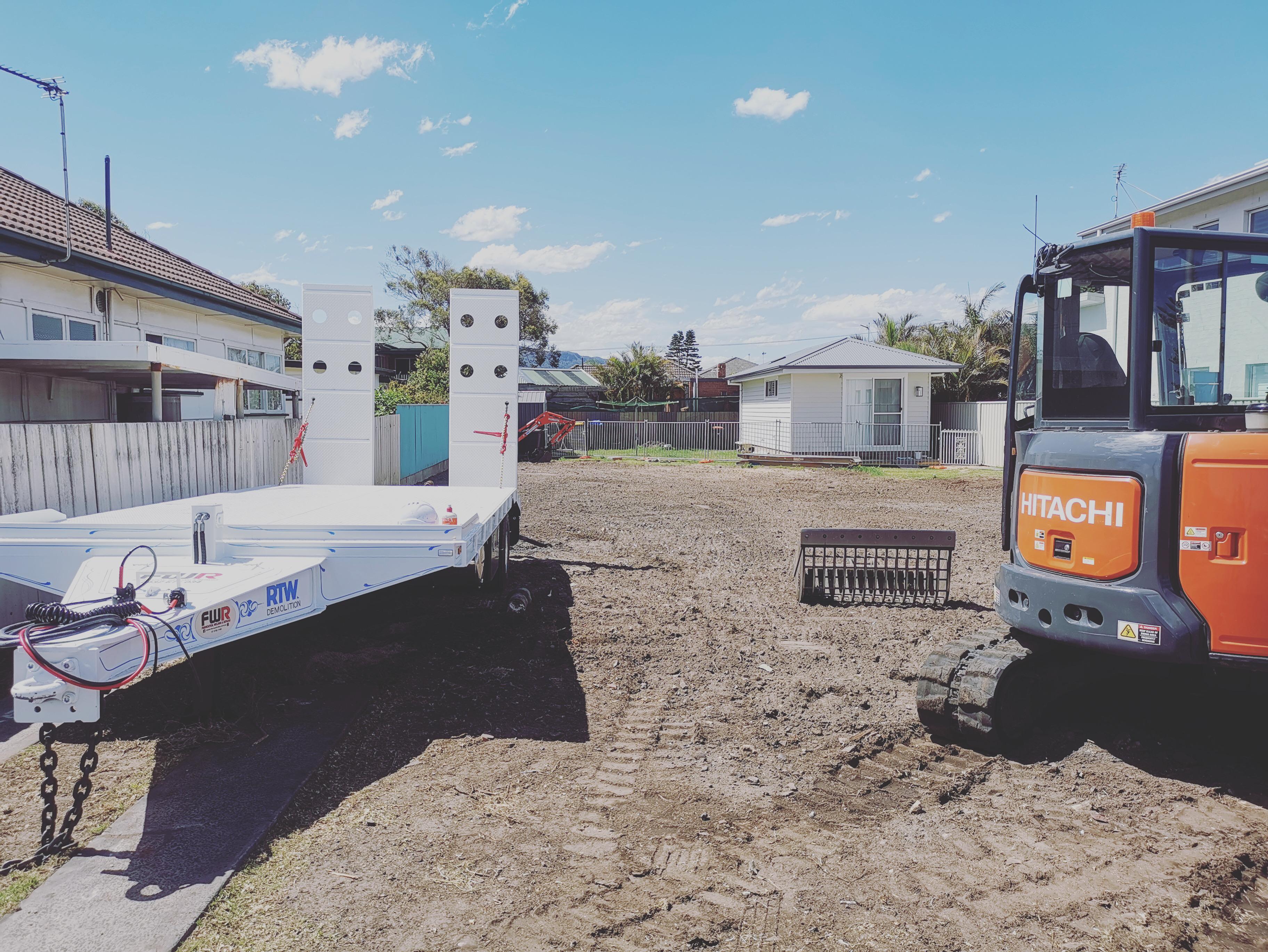 Demolition, Excavator, Trailer