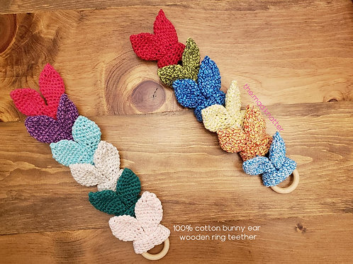 Crochet Bunny Ear Wooden Ring Teether and Hand Kite Pattern