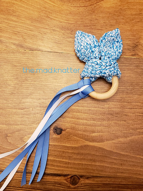 Crochet Bunny Ear Wooden Ring Teether with Ribbon Hand Kite