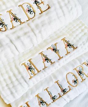 couverture gaz de coton lettres fleuris
