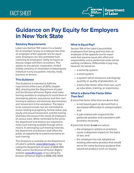 Equal Pay for employees in New York