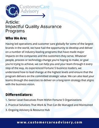ARTICLE: Impactful Quality Assurance Programs