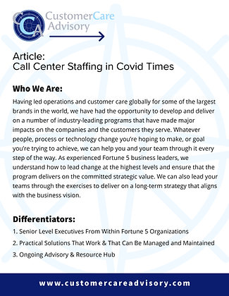ARTICLE: Call Center Staffing in COVID Times
