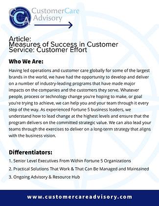 ARTICLE: Measures of Success in Customer Service: Customer Effort