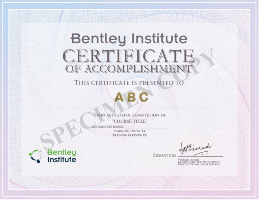 Bentley Institute Certificate of Accomplishment (Specimen Copy)