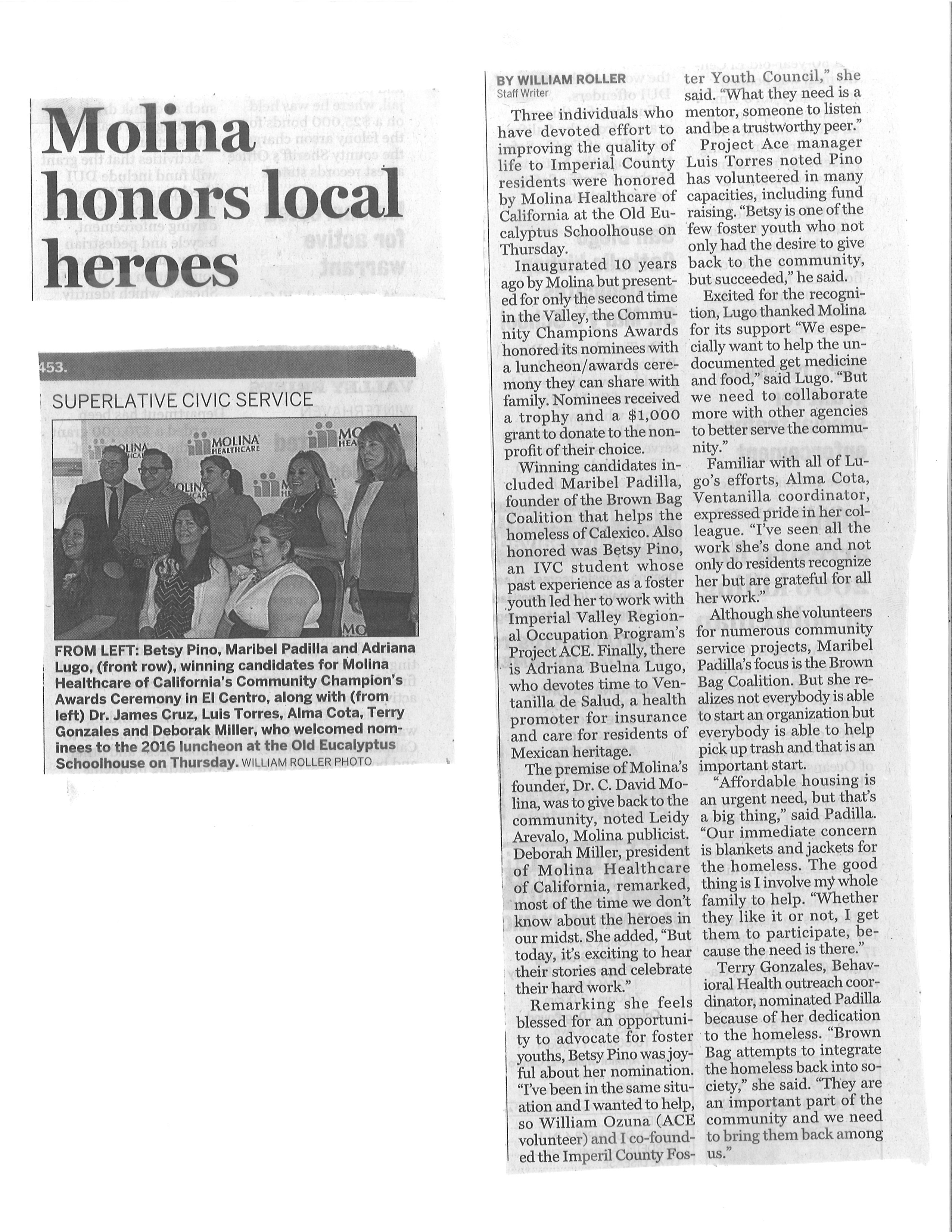 Molina honors local heroes