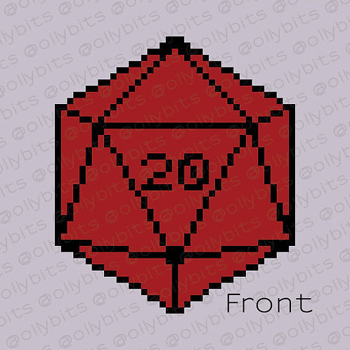 D20 Dice Pixel Art Acrylic Charm
