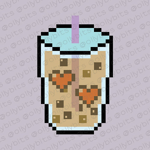 Boba Milk Tea Pixel Art Acrylic Charm