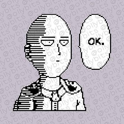 One Punch Man Saitama Manga OK Pixel Art Acrylic Charm